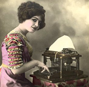 Because the typebars of this typewriter strike upwards, the typist in this French postcard, c. , could not have seen characters as they were typed.