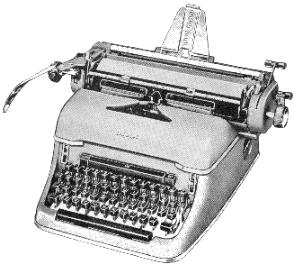 "Many models of mechanical typewriters incorporated a bell, which would warn the typist that they were approaching the edge of the paper and would soon have to start a new line. The large lever shown on the left of this image was used to perform a ""carriage return"", enabling the typist to begin a new line of text."