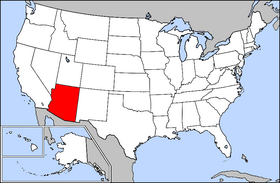 Map of the U.S. with Arizona highlighted