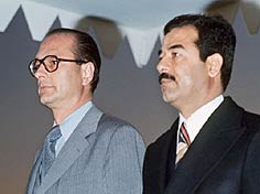 Saddam Hussein meeting with , then , during a state visit to  in 1976