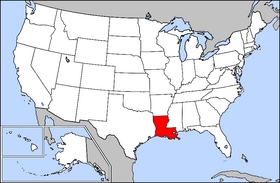 Map of the U.S. with Louisiana highlighted