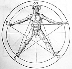 Pentagram image from 's  illustrating the golden symmetry of the human body. The signs on the perimeter are  .