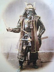 Japanese samurai in armour, 1860 photograph.