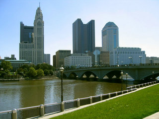 Skyline of downtown Columbus, Ohio, viewed across the Scioto River.