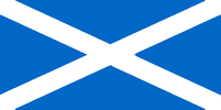 The flag of Scotland, with an unusual sky blue field