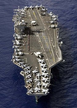 U.S. Navy   on , . Approximately fifty aircraft can be counted on deck.