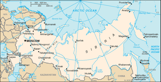 Map of the Russian Federation
