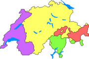 The languages of Switzerland:  (63.7%; yellow),  (19.2%; purple),  (7.6%; green),  (0.6%; red)